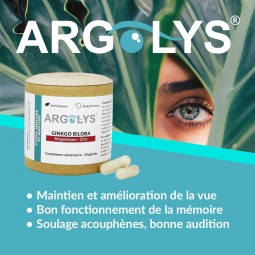 Bienfaits yeux mémoire audition  Argolys Vision, Mémoire et Audition 30 gélules végétales