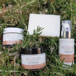 Mon pack Adermys cosmetics : crème jour + crème nuit + serum + savonnette de Provence
