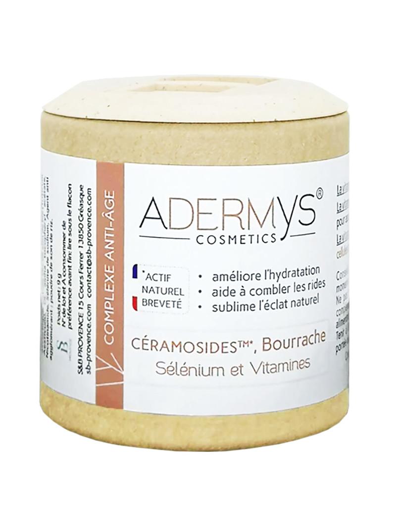Flacon Adermys Céramosides, huile de bourrache, sélénium et vitamines 30 gélules végétales