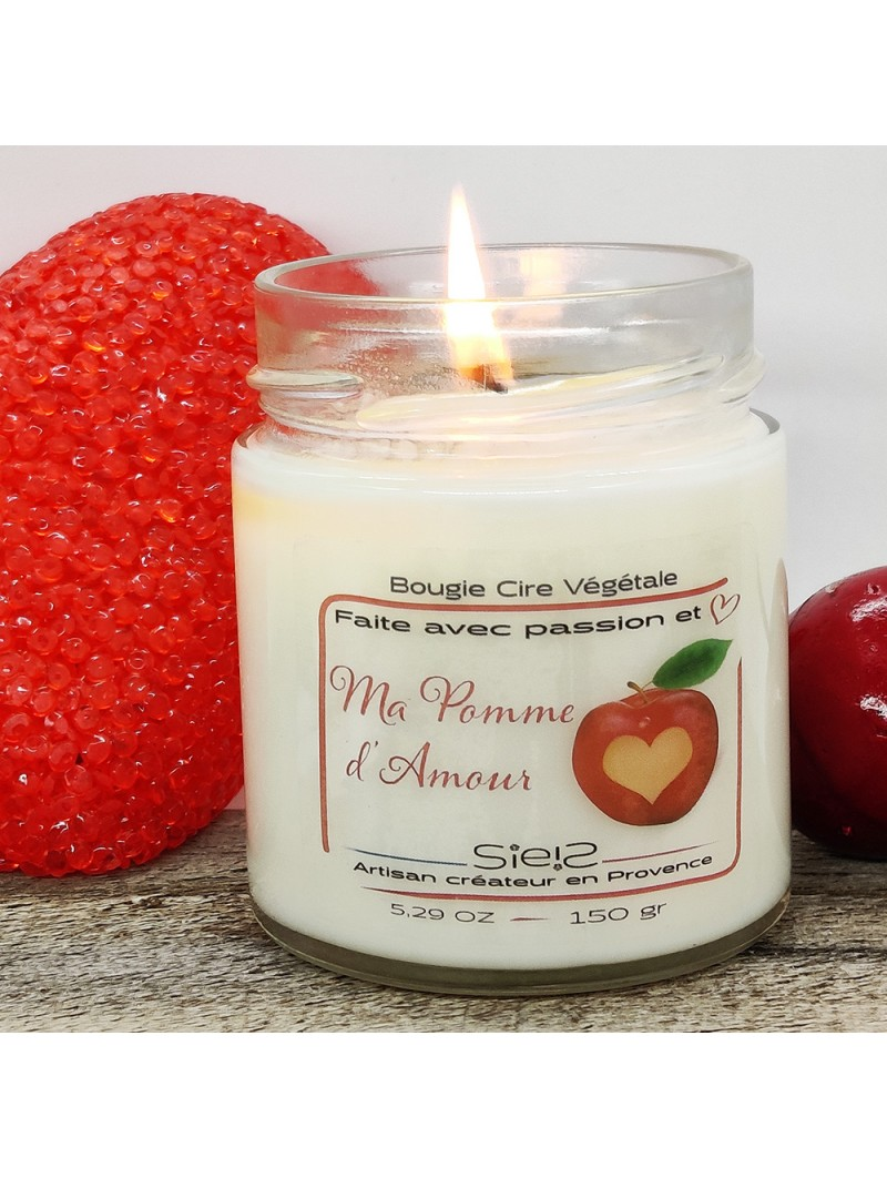 Bougie St Valentin : MA POMME D'AMOUR (plusieurs formats)